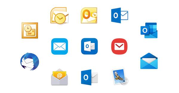 Übersicht von E-Mail-Programm-Icons