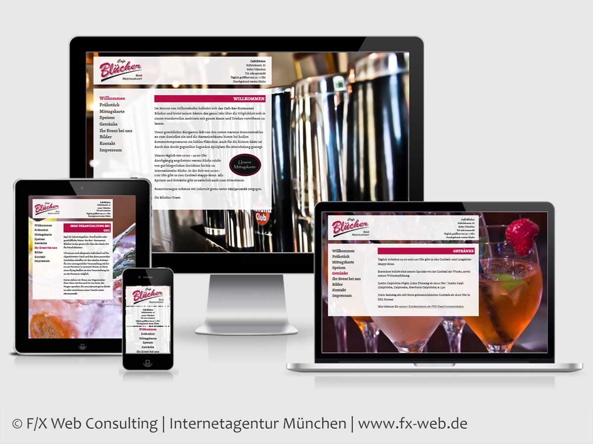 Screenshot der Website des Cafe Blücher