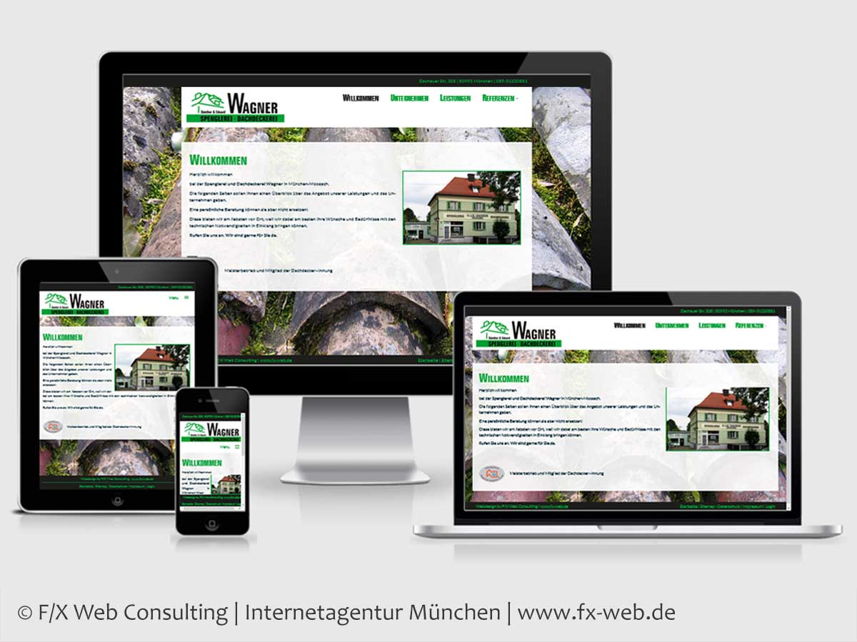 Screenshot der Website der Dachdeckerei Wagner